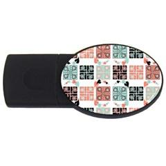 Mint Black Coral Heart Paisley Usb Flash Drive Oval (2 Gb)
