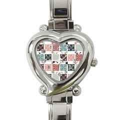 Mint Black Coral Heart Paisley Heart Italian Charm Watch