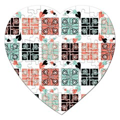 Mint Black Coral Heart Paisley Jigsaw Puzzle (heart)