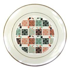 Mint Black Coral Heart Paisley Porcelain Plates