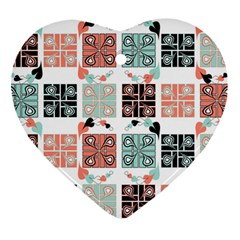 Mint Black Coral Heart Paisley Heart Ornament (Two Sides)