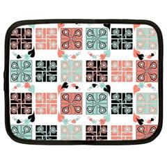 Mint Black Coral Heart Paisley Netbook Case (XXL)