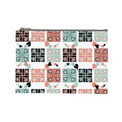 Mint Black Coral Heart Paisley Cosmetic Bag (Large)