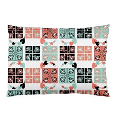 Mint Black Coral Heart Paisley Pillow Case (two Sides)