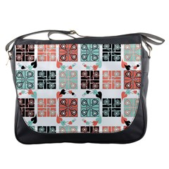 Mint Black Coral Heart Paisley Messenger Bags