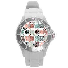 Mint Black Coral Heart Paisley Round Plastic Sport Watch (l)