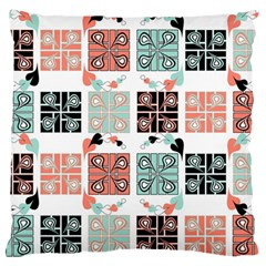 Mint Black Coral Heart Paisley Large Cushion Case (Two Sides)