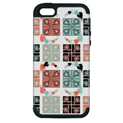 Mint Black Coral Heart Paisley Apple iPhone 5 Hardshell Case (PC+Silicone)