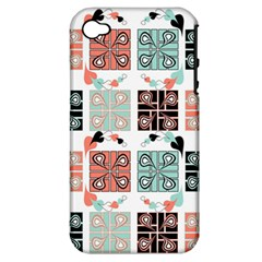 Mint Black Coral Heart Paisley Apple iPhone 4/4S Hardshell Case (PC+Silicone)