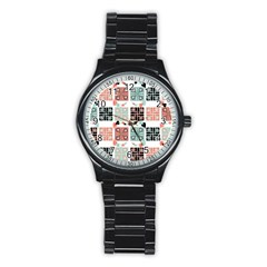 Mint Black Coral Heart Paisley Stainless Steel Round Watch