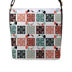 Mint Black Coral Heart Paisley Flap Messenger Bag (l)
