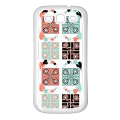 Mint Black Coral Heart Paisley Samsung Galaxy S3 Back Case (White)