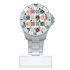 Mint Black Coral Heart Paisley Plastic Nurses Watch