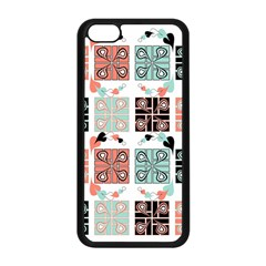 Mint Black Coral Heart Paisley Apple iPhone 5C Seamless Case (Black)