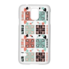 Mint Black Coral Heart Paisley Samsung Galaxy S5 Case (white)