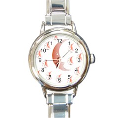 Moon Moonface Pattern Outlines Round Italian Charm Watch