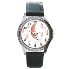 Moon Moonface Pattern Outlines Round Metal Watch