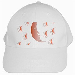 Moon Moonface Pattern Outlines White Cap
