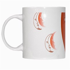 Moon Moonface Pattern Outlines White Mugs