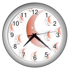 Moon Moonface Pattern Outlines Wall Clocks (Silver)