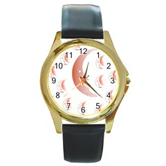 Moon Moonface Pattern Outlines Round Gold Metal Watch