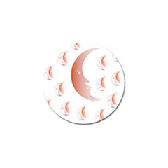 Moon Moonface Pattern Outlines Golf Ball Marker