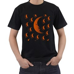 Moon Moonface Pattern Outlines Men s T-Shirt (Black) (Two Sided)