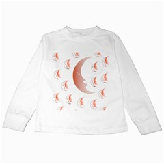 Moon Moonface Pattern Outlines Kids Long Sleeve T Shirts
