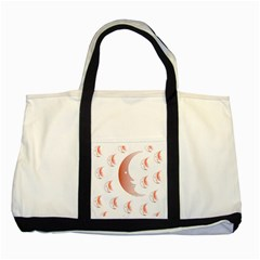 Moon Moonface Pattern Outlines Two Tone Tote Bag