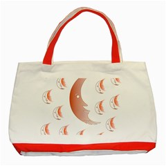 Moon Moonface Pattern Outlines Classic Tote Bag (Red)
