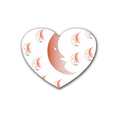 Moon Moonface Pattern Outlines Heart Coaster (4 pack)