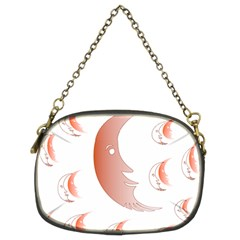 Moon Moonface Pattern Outlines Chain Purses (Two Sides)