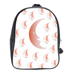 Moon Moonface Pattern Outlines School Bags(Large)
