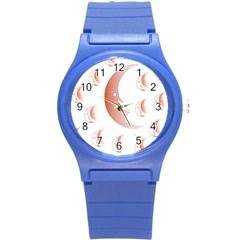Moon Moonface Pattern Outlines Round Plastic Sport Watch (s)
