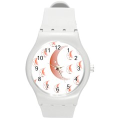 Moon Moonface Pattern Outlines Round Plastic Sport Watch (m)
