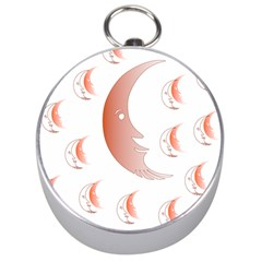 Moon Moonface Pattern Outlines Silver Compasses