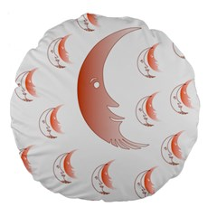 Moon Moonface Pattern Outlines Large 18  Premium Flano Round Cushions
