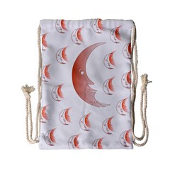 Moon Moonface Pattern Outlines Drawstring Bag (Small)