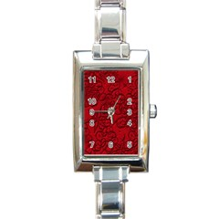 Christmas Background Red Star Rectangle Italian Charm Watch