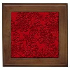 Christmas Background Red Star Framed Tiles