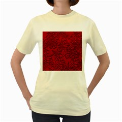 Christmas Background Red Star Women s Yellow T Shirt