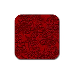 Christmas Background Red Star Rubber Square Coaster (4 pack)