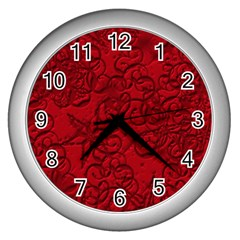 Christmas Background Red Star Wall Clocks (Silver)