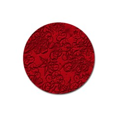 Christmas Background Red Star Magnet 3  (round)