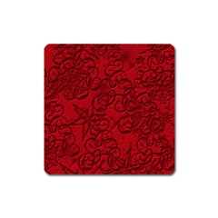Christmas Background Red Star Square Magnet