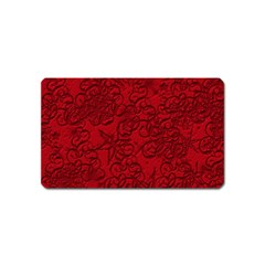 Christmas Background Red Star Magnet (Name Card)