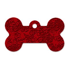 Christmas Background Red Star Dog Tag Bone (Two Sides)
