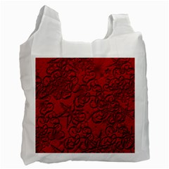 Christmas Background Red Star Recycle Bag (two Side)