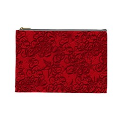 Christmas Background Red Star Cosmetic Bag (Large)