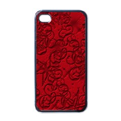 Christmas Background Red Star Apple iPhone 4 Case (Black)